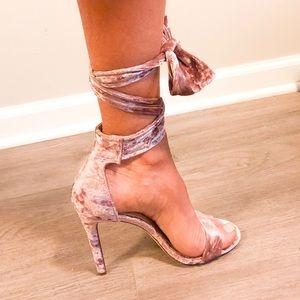 Velvet Tie-up Heels